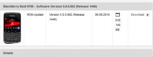 Vodafone lancia OS 5.0.0.862 per BB Bold 9700