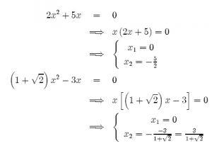 Equazioni di secondo grado – casi particolari.