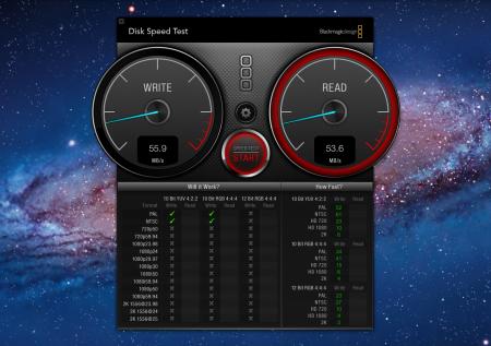 Test velocità e analisi hard disk Mac – Blackmagic
