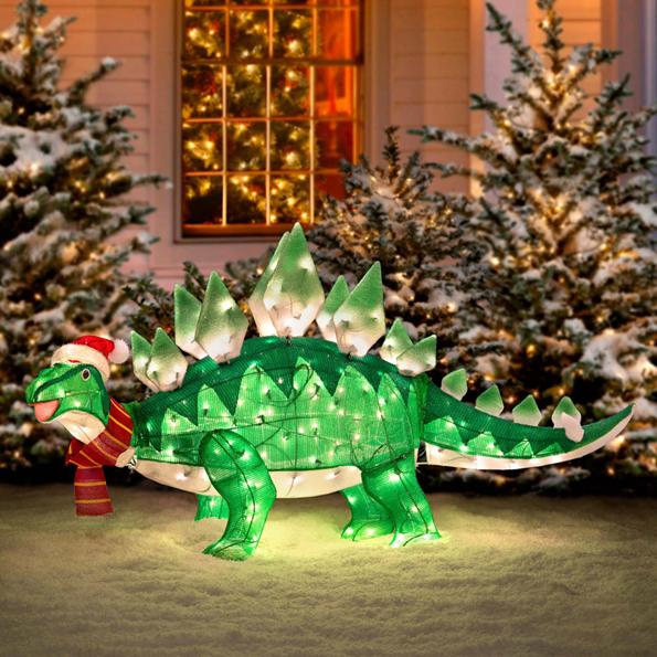 Addobbo per giardino dinosauro natalizio