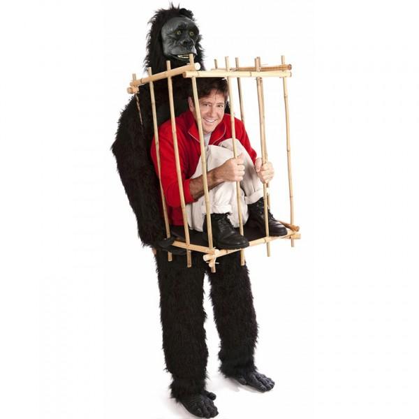 Costume Halloween Gorilla con uomo in gabbia