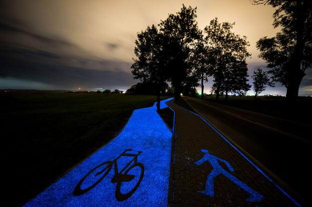 pista ciclabile luminosa polonia